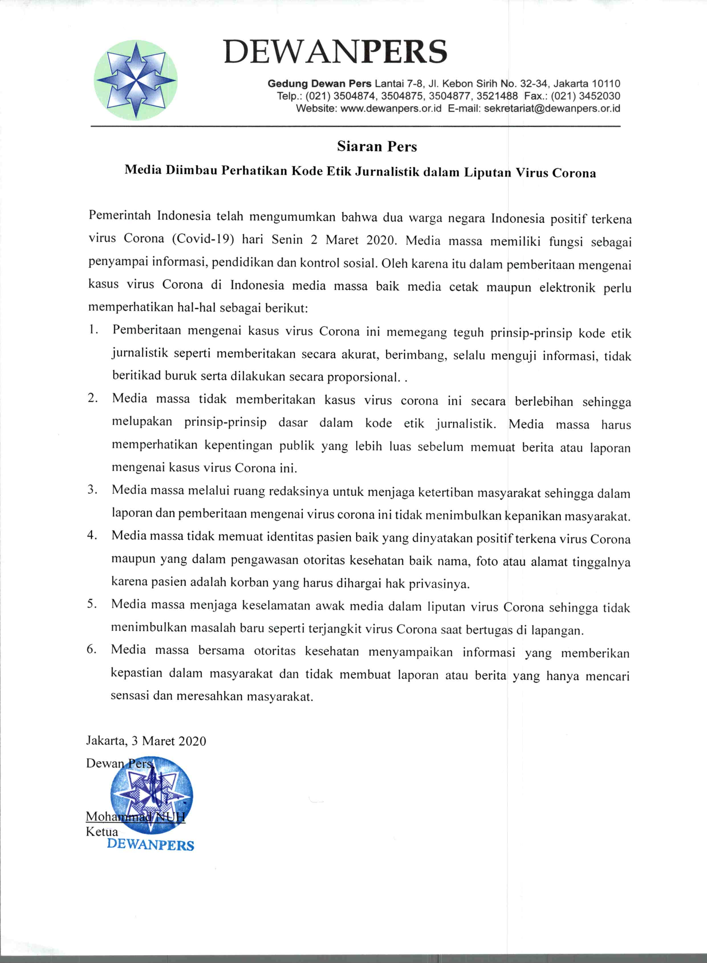 Siaran Pers Dewan Pers Mengenai Kode Etik Jurnalistik Dalam Liputan Virus Corona